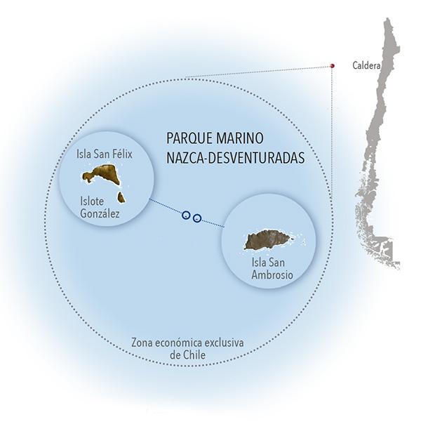 Mapa de ubicacion parque marino Nazca Desventuradas