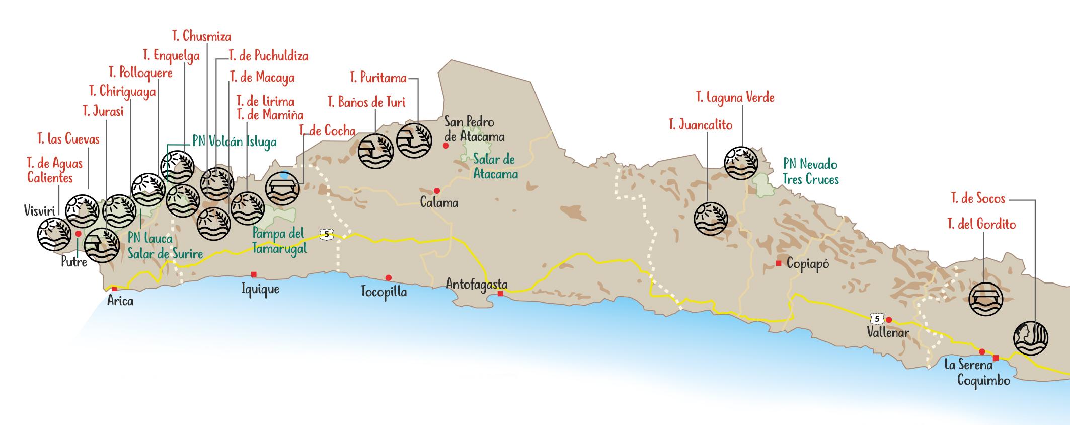 Mapa de Termas Chile Central