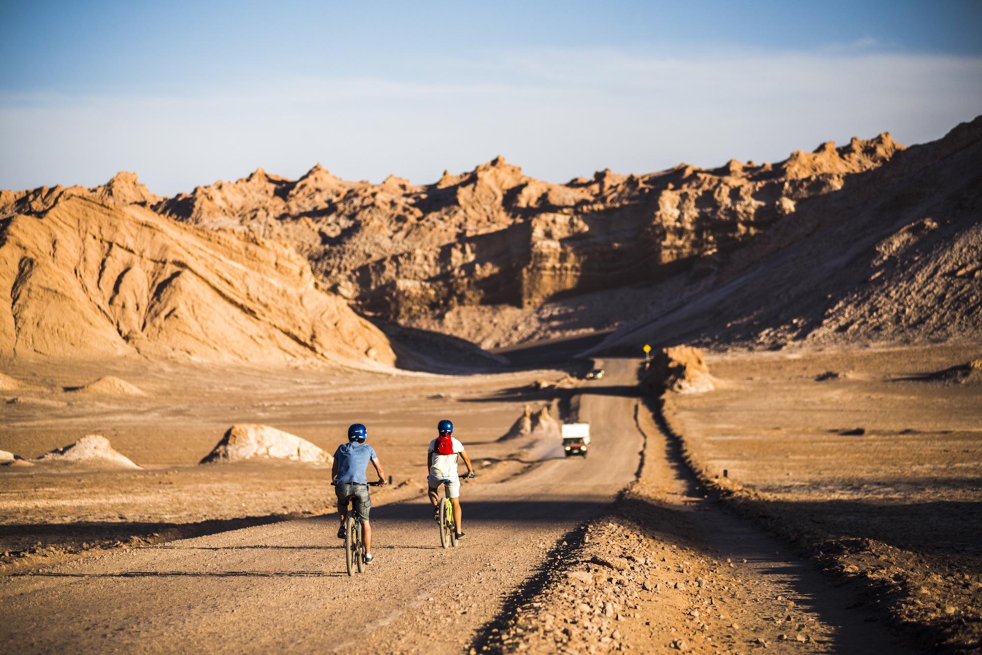 Cycling in Moon Valley (Valle de la Luna), Atacama Desert, North Chile